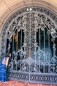 image of wrought iron  - woman looking through Palace wrought iron gate - JPG