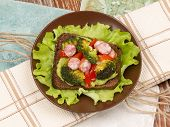 picture of veal  - bright beautiful healthy nutritious delicious sandwich made of veal sausage fried broccoli and red pepper top view - JPG