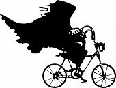 picture of wraith  - Woodcut styled image of a hooded wraith or death riding a bicycle - JPG
