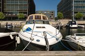 picture of copenhagen  - Motorboat on a sunny summer day in Hellerup a suburb of Copenhagen Denmark - JPG