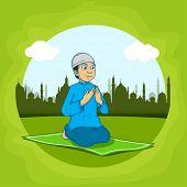 image of namaz  - Religious Muslim boy - JPG
