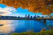 image of highrises  - View of Portland Oregon overlooking the willamette river on a Fall Afternoon - JPG