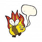 image of bee cartoon  - cartoon bee with speech bubble - JPG