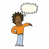 pic of nasty  - cartoon nasty boy with speech bubble - JPG