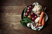 picture of root vegetables  - Assorted root vegetables and onions - JPG