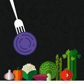 stock photo of food label  - Fresh vegetables vector concept - JPG