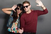 picture of multicultural  - A portrait of a happy young multicultural couple - JPG