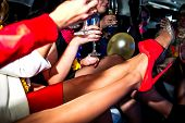 image of hen party  - Girls in limo at hen - JPG