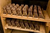 image of cartridge  - Rifle cartridges old cage stored in the open vault - JPG