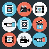 stock photo of storyboard  - Set of Movie and Video Flat Circle Icons - JPG