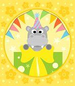 pic of hippopotamus  - Happy Holiday Cartoon background with funny hippopotamus - JPG