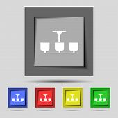 picture of chandelier  - Chandelier Light Lamp icon sign on the original five colored buttons - JPG