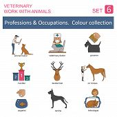 image of working animal  - Professions and occupations coloured icon set - JPG