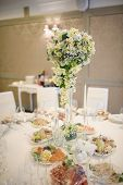 image of banquet  - Banquet wedding table setting on evening reception - JPG