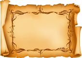 stock photo of scroll  - Frayed old paper scroll with floral frame - JPG