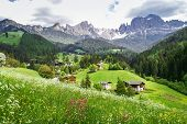 pic of south tyrol  - View of the village Tiers and the Rosengarten mountains in the Dolomites South Tyrol - JPG