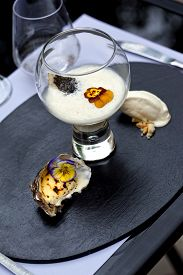 picture of oyster shell  - Oyster sauce caviar grilled oysters and oyster sorbet - JPG