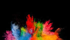 image of colore  - Freeze motion of colored dust explosion isolated on black background - JPG