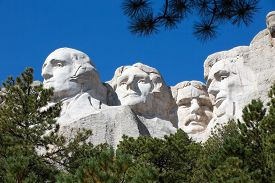 picture of mount rushmore national memorial  - View up to the four Presidents faces  - JPG