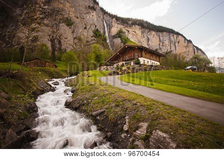 Old Wooden Hut Cabin In Mountain Alps At Summer Landscape