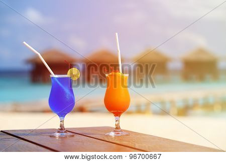 Two cocktails on luxury tropical resort