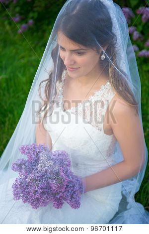 Close Up Portrait Of Happy Beautiful Bride In Wedding Dress With Long Veil