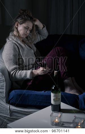 Depressed Drunk Woman