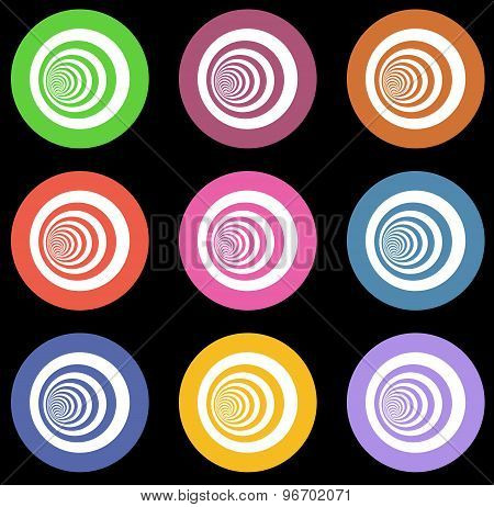 Multiple Vortex With Concentric Stripes In Different Colors