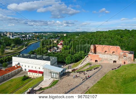 View Of Ruins Of Upper Castle Vilna And Neris River From Lookout Of Gediminas Tower