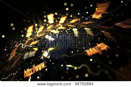 Colorful Light And Abstract Shapes Over Black Background, Internet Concept