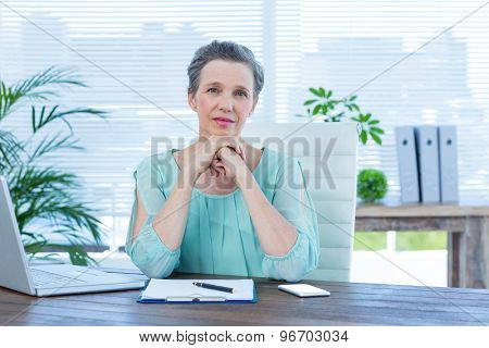 Portrait of an attentive businesswoman looking at the camera