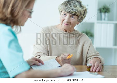 Aged Female On Medical Consultation