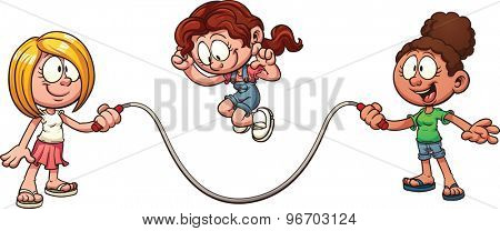 Girls playing jump rope. Vector clip art illustration with simple gradients. All in a single layer.