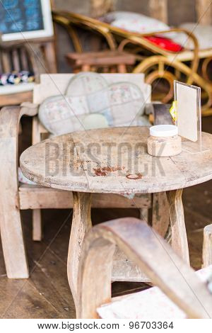 Old wooden Coffee table in Coffee shop