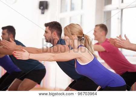 Young Happy People During Aerobics Training