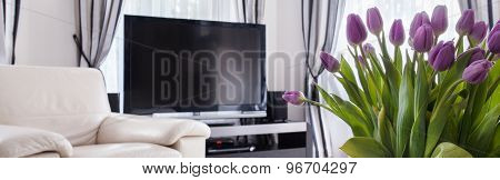 Plasma Tv And Tulips Bouquet