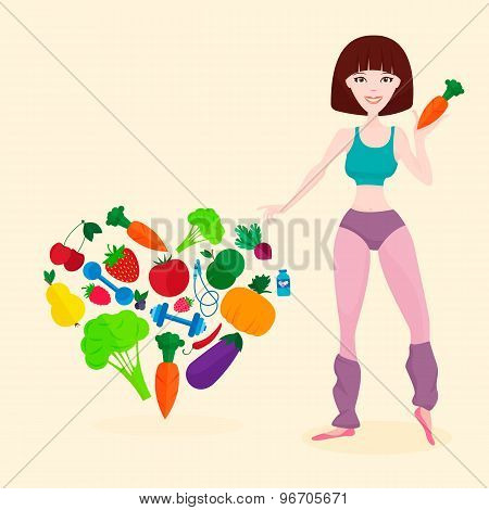 Slim athletic girl, fresh vegetables and fruits, proper lifes