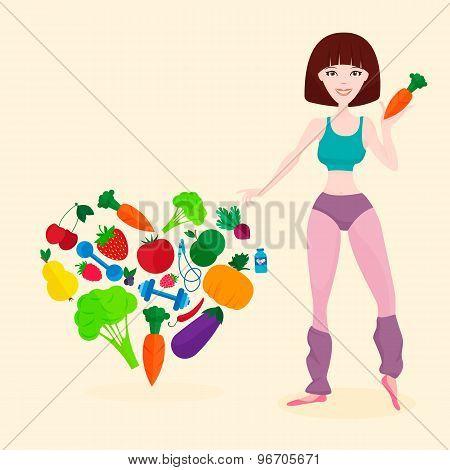 Slim athletic girl, fresh vegetables and fruits, proper lifes