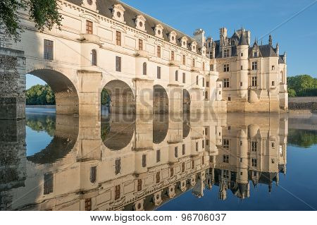 Chenonceau chateau Loire Valley France at dawn.