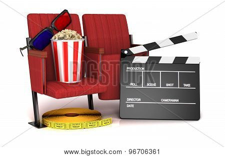 Cinema Clapper Board, Popcorn And 3D Glasses On Theater Seat. Cinematography Concept.