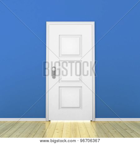 Closed White Door In A Empty Blue Room