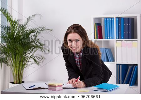 Young Woman Working In Agency
