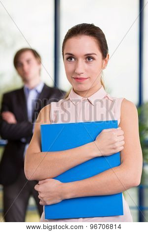 Holding Folder With Important Documents