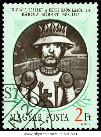 Vintage  Postage Stamp. King Of Hungary Robert.
