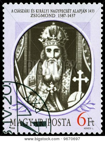Vintage  Postage Stamp. King Of Hungary Sigmund.