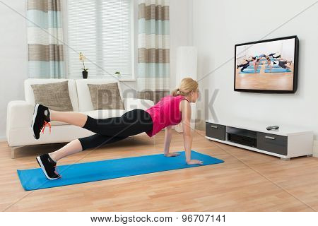 Woman Doing Workout In House