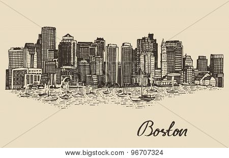 Boston skyline vintage vector illustration Sketch