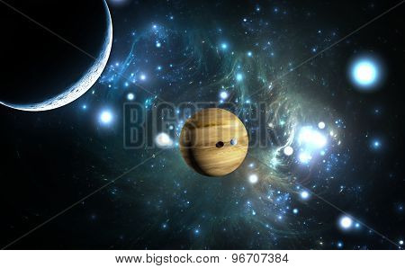 Extrasolar Planet. Gas Giant With Moons.