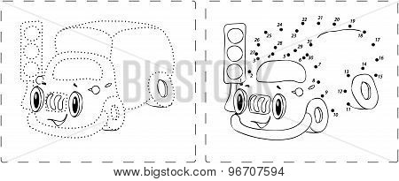 Funny Lorry Drawing With Dots And Digits