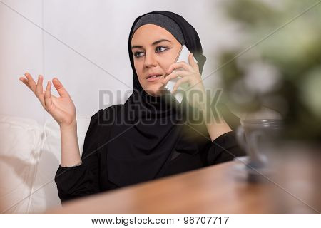 Muslim Girl And Phone
